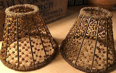 Vintage Set Of 2 Small Golden Beaded Wired Lamp Shades