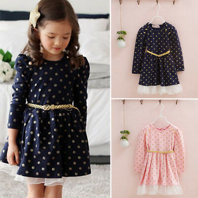 Baby Girls Sweet Dotted Long Sleeve Pullover Princess Birthday Party Dress