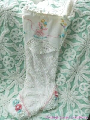 ViNtAgE CHENILLE * SOUTHERN BELLE Embroidery * One-of-a-Kind CHRISTMAS STOCKING