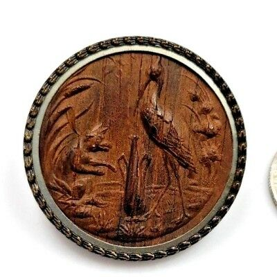 Large Antique Wood Carved Picture Button Stork with Fox Wolf in Meadow L@@K  #30