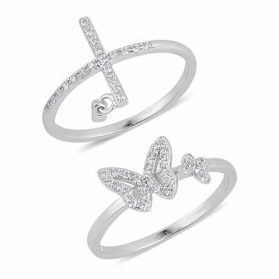 Esterlina Fina Plata Diamante VVS Simular Set de 2 Anillos Mariposa Cruz Tallas