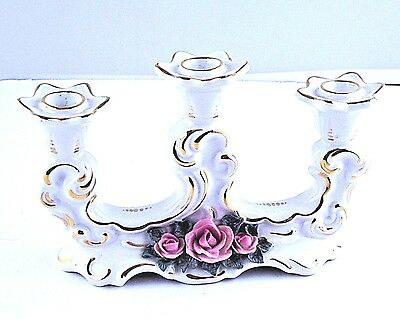 Candlestick 3 Candle Dresden Crown Mark HL Germany White Gold Pink Rose VTG