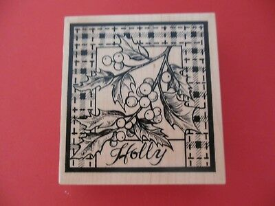 PSX Holly Branch Christmas Holiday Plaid Rubber Stamp