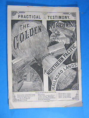 1880's Northern Pacific Railroad Lands Testimony Brochure Advertising Farming