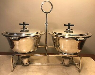 Mid Century Modern Tommi Parzinger Mueck Cary Chafing Dish Set Silver Plated