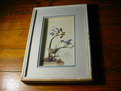 Vintage 3D feather art shadow box blue jay birds on nest picture collage