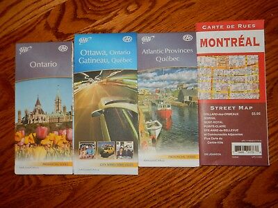 4 MAPS LOT Ontario, Ottawa, Quebec, Montreal - new condition - see pictures