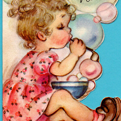VINTAGE Birthday Card RUST CRAFT Cute Little Girl BUBBLES Niece DIE CUT 1947 vtg
