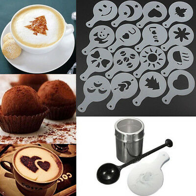 Chic 16pcs DIY Coffee Decor Tool Set Stencils Cappuccino Mold Latte Art Barista