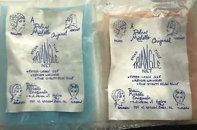 Vintage Hair Nets! Triangle Tulle Unique old retro Robin Michelle Nylon Tan Blue