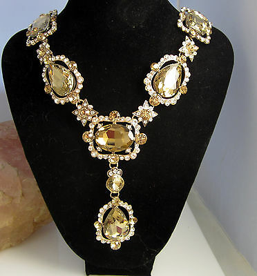 Vintage Huge Signed Oscar De La Renta Goldtone Champagne Statement Necklace