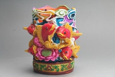 Fine collection of Chinese hand made fish Cloisonne brush  at364