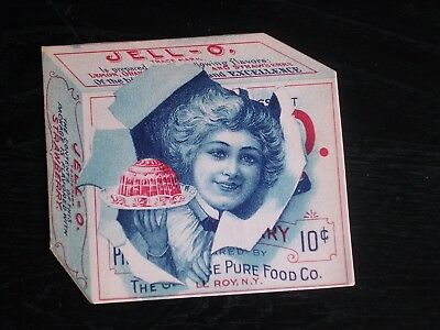 "Early 1900's Jello JELL-O Advertising 10¢ Folds Open 7-3/4"" x 3-1/2""  - RARE"