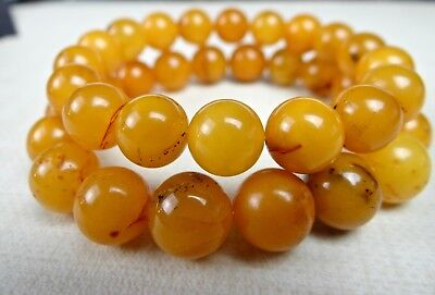 All Natural Butterscotch Egg Yolk Amber smooth round beads/11mm/4 inch strand