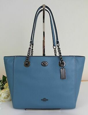 67bd87c54 COACH Turnlock Chain Tote 27 Leather Satchel 57107 Chambray Blue Gunmetal  Silver