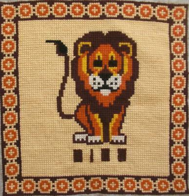 """Vintage completed tapestry needlepoint cross stitch Leo zodiac sign  13.5""""x13.7"""""""