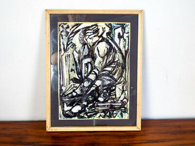 Original Vintage Signed Abstract Gouache Painting Classical Female Figure
