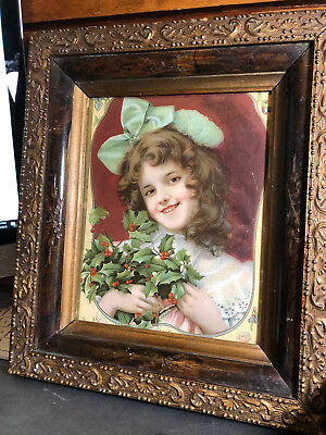 Antique Framed Christmas Print of Smiling Girl w/Holly Dated 1906