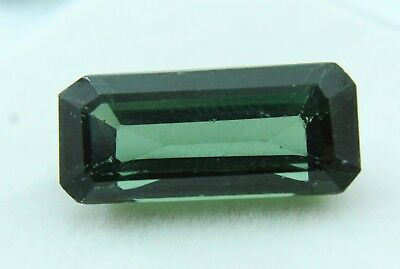 9.90 Ct GGL Certified  Emerald Cut Green Color Natural Tourmaline Gem Ring Size