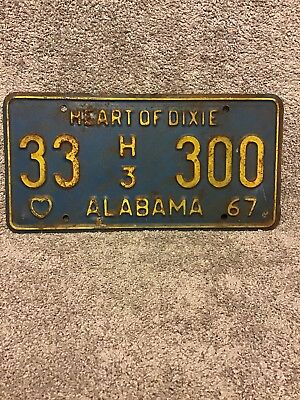 1967 Alabama Heart Of Dixie License Plate Franklin County