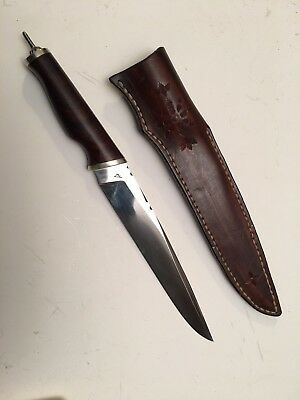 Custom Wayne Valchovic Rare Lg Fighting knife w/Pommel Spike-Hand Forged &sheath