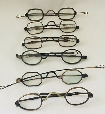 Antique Lot of 6 -  Mixed Tone CIVIL WAR 4 Sliding Temples SPECTACLES AS-SHOWN