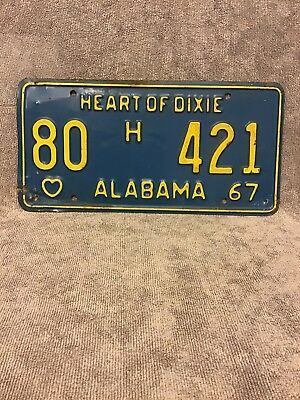 1967 Alabama Heart Of Dixie License Plate.