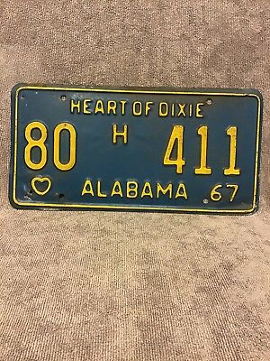 1967 Alabama Heart Of Dixie License Plate