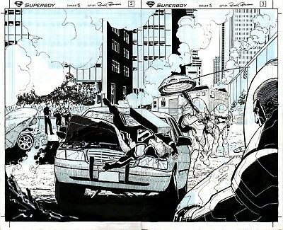 SUPERBOY 15 Pages 2 & 3 Two Page Spread Original Art by Roger Robinson