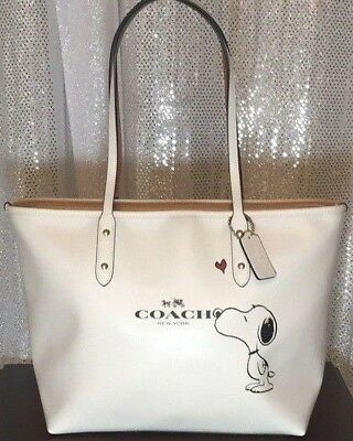 COACH x Peanuts Snoopy City Tote Purse Shoulder Bag Satchel F37273 Chalk White