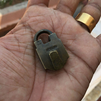 46 old antique solid brass small miniature padlock lock with key MOST RARE shape