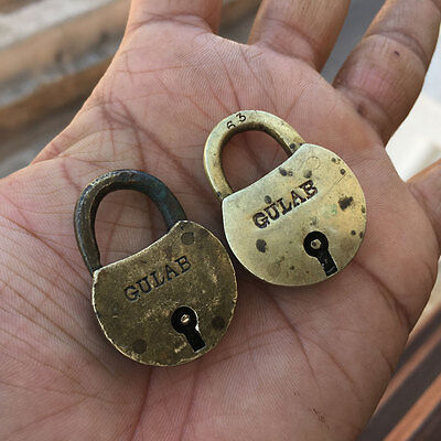 Pair Old antique solid brass padlock or lock with key small miniature RARE SHAPE