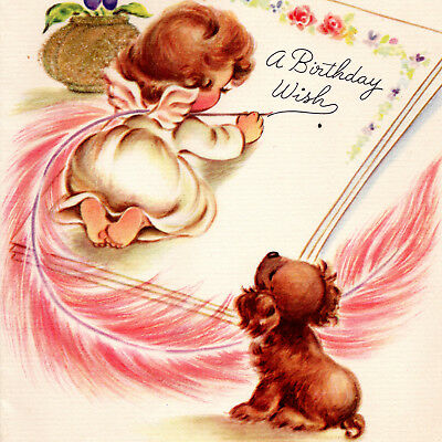 Vintage BIRTHDAY CARD Little Girl Angel PUPPY Pink Feather RUST CRAFT 1940s vtg