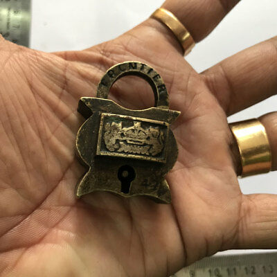 45 old antique solid brass small miniature padlock lock with key RARE shape