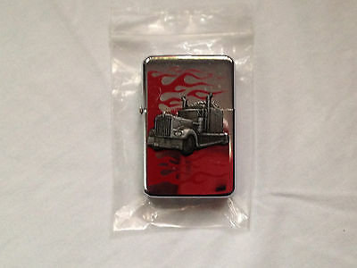 3D Semi & Red Flames - Refillable Lighter