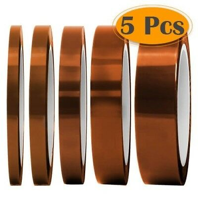 Silicone High Temperature Resistant Tape Polyimide Film Multi Sized Brown 5 Pack