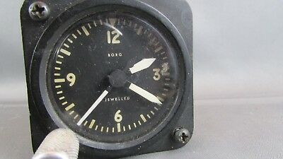 RARE WWII Army Aircraft US Aviation Instrument Airplane CLOCK BORG JEWELLED