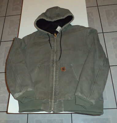 Mens Carhartt Sandstone Canvas Quilt Lined Jacket with Hood size L  Farm Chore