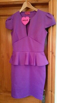 DOLLS size 14 PURPLE STRETCH COCKTAIL STYLE DRESS brand new with tags
