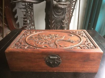 """13.6"""" Old Chinese Huanghuali Wood Carved Flower Phoenix Jewel Box Storage Boxes"""