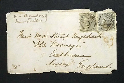 INDIA COVER TO SUSSEX ENGLAND MULTI FRANKED WITH QV 4As. X2 POSTAL HISTORY