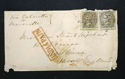 INDIA PAID COVER FRANKED QV 4As  TO SUSSEX VIA CALCUTTA AND MARSEILLES