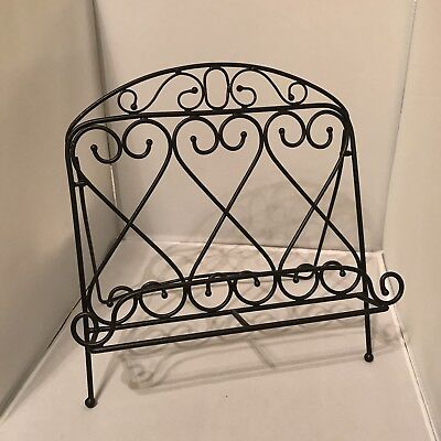 Black Wrought Iron Cook Book Stand Music Stand Kitchen Kitch Euc