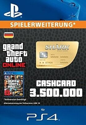 PS4 GTA 5 online Cash Card Code 'Walhai' deutsch 3.500.000 $ *Blitzversand*