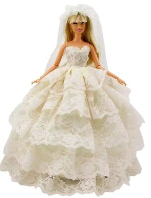 New Barbie doll clothes outfit  princess wedding gown veil dress cream color