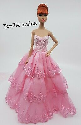 New Barbie doll clothes outfit  princess wedding gown dress pink veil