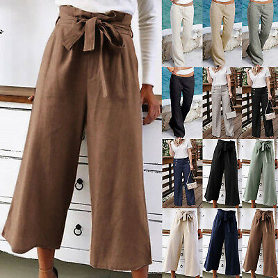 Womens Linen Cotton Wide Leg Casual Long Pants Loose Palazzo OL Baggy Trousers