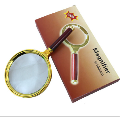 Imitation Wooden Handheld Reading Magnifying Glass 10X HD Real Glass Magnifier