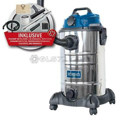 230V Wet And Dry Vacuum Cleaner Stainless Steel 30 L 1400 W Scheppach Asp-30Es