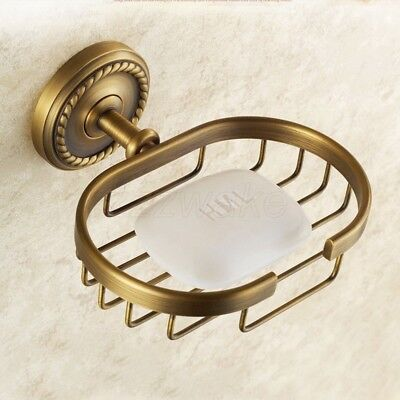 Antique Brass Soap Basket Wall Mounted Bathroom Kitchen Cleanser Dish Holder New
